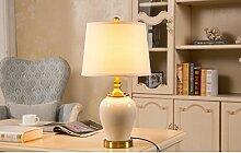 ZWL Keramische Tischlampe Schlafzimmer Nachttischlampe Wohnzimmer Studie Einfache Modern Warme Dekoration Lampe mode. ( Farbe : Weiß )