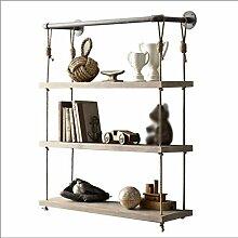 ZWL Lagerung Rack Wohnzimmer Schlafzimmer Retro Hanf Seil Holz Bücherregal Wand Regaleisen Wasserrohre Regal Fashion. z ( größe : 60*25*95CM )