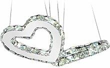 ZWL Led Kristall Kronleuchter, kreatives Wohnzimmer Lichter Restaurant Lichter Liebe-förmigen zwei Ringe Heirat Zimmer Hochzeit Dekoration Kronleuchter Transparente Farbe Bernstein hängende Linie Höhe einstellbar mode. ( Farbe : Transparent , größe : 500*300*1200mm )