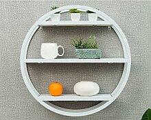 ZWL Massivholz Regale, runde Trümmer Rack Kreative Bücherregal Wandhalterung Dekorative Wandregal Wohnzimmer Bar Café Kreativ Einfache 60 * 16 * 60cm Fashion. z ( Farbe : Weiß )