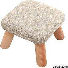 ZWL Quadrat gepolsterte Schemel, 4 Holz Beine Stuhl Hocker Leinen Stoffbezug, 28 * 28 * 20 cm Mode ( Farbe : #2 )