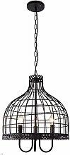 ZWL Retro Birdcage Kronleuchter, Restaurant Dekoration Bekleidungsgeschäft Lampen Und Laternen Bar Beleuchtung Kreativ LOFT Industrial Style Eisen E14 Drei Köpfe 42 * 45CM verstellbare 100cm Light Chain Engineering Lights mode. ( größe : 42*45CM )