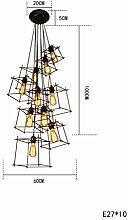 ZWL Retro Eisen Kronleuchter, Loft kreative Restaurant Bar Kronleuchter quadratischen Schlafzimmer Dekoration Lampen und Laternen lange E27 Hängeleine 1m kann sich anpassen mode. ( größe : H )