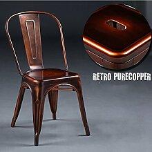ZWL Retro Eisen-Sessel, kreativer Loft-Esszimmer-Stuhl bilden alte Stühle europäische Art-Metallkaffee-Stab-Metallstuhl-Freizeit-Produktion Unterhaltung Vereine Dekoration-Stuhl 44 * 47 * 85cm Mode ( Farbe : G )