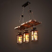 ZWL Retro Kronleuchter, Loft Restaurant Bar Eisen Kronleuchter Internet Cafes Dekoration Lampen Und Laternen Laterne 2-3 Kopf E27 Spiral Mund mode. ( größe : 68*45cm )
