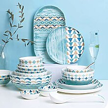 ZWW Keramik Geschirr Set, 42 Stück Blau Kreative