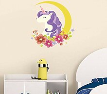 ZWXDMY Dekorativer Wandaufkleber,Lila Einhorn Mond