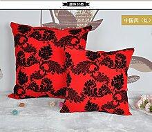 ZWYZXY Neue Artikel Sitzkissen Chinesische 3D Kissen Sofakissen Plüsch Bett auf das Paket auto Lendenwirbelstütze Kissen Büro, 50 x 50 cm, Lendenwirbelstütze (rot)