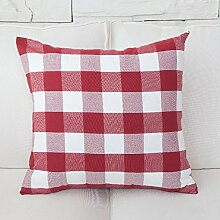 ZWYZXY Stoffe mit roter Farbe Streifen vergitterte Auto Bett Sofa Kissen und lumbalen Kissen Treppen zurück, 50 x 50 cm, rot große Fächer