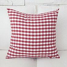 ZWYZXY Stoffe mit roter Farbe Streifen vergitterte Auto Bett Sofa Kissen und lumbalen Kissen Treppen zurück, 50 x 50 cm, kleine rote kleine Leitung