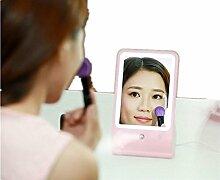 ZWZT Multifunktionale Schönheit Feuchtigkeitsspendende Kosmetikspiegel LED Make-up-Spiegel Sprühen Schreibtisch Licht Eitelkeit Spiegel , pink