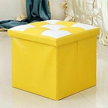 ZWZT Multifunktions-Leder Klappstuhl Stuhl seine Schuhe Lagerung Hocker Platz Hocker Mischfarben zu ändern , yellow , 38*38*38cm