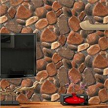 ZWZT Tapete PVC Retro 3D Imitation Stein Textur Tapete Dekorative Schlafzimmer TV Wand Wohnzimmer Bar Bekleidungsgeschäft Tapete-53 cm (W) * 10 m (L)