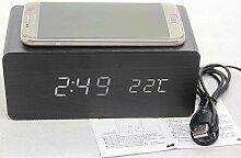 Zxhh Kreative Holz Uhr Wireless Handy Lade