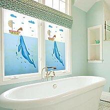 ZXINHome Fensterfolie Blauwal Glasfilm Mattglas