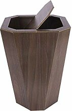 ZXL Mülleimer 12L Flip Holz Mülleimer für
