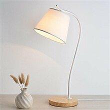 ZXLDP Tischlampen Holz Stoff Moderne Minimalist Kreative amerikanischen Tischlampe Nachttischlampe Schlafzimmer-Dekoration Schlafzimmer Nachttischlampe Study Personalisierte Tischlampe ( Farbe : Weiß )