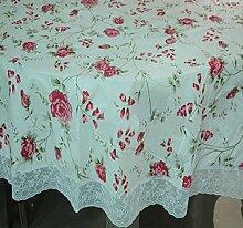 zxlife PVC-Tischdecke mit Spitze, wasserdicht, anti-oil und anti-hot Wind Pastoral Tischdecke, drei Größen (150180,200rund Durchmesser), e, 180cm diameter round