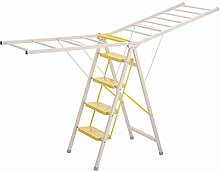 ZXQZ Schritt Hocker Hause Boden Typ Klappleiter Multifunktionale Kleiderbügel Indoor Dual-Use-Hocker Klappleiter (Farbe : Gelb, größe : 50*105CM)
