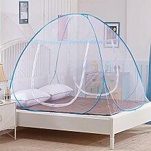 ZXQZ Sommer Moskitonetze Einzelbett Moskitonetz All-inclusive Anti-Moskito-Moskitonetze Anti-Wind und Staub Insektenschutz ( Farbe : Blau , größe : 1.0M bed )