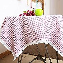 ZXY Heimtextilien ZXY Pastorale Tischdecken, Gitter geometrische Muster, Leinen Tuch Tischdecke Tisch, rechteckige Mehrzweck staubdichte Tischdecke Deckel Tuch,B,130*180cm