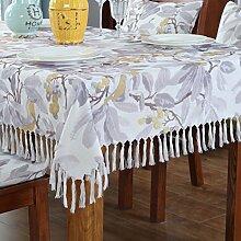 ZXY Retro tassel abwaschbare Tischdecke Cover Tuch Square Baumwolle und Leinen wasserdicht staubdicht Home Esstisch Küche Desktop Dekoration,A,135*180CM