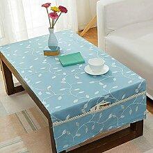 ZXY Stile moderno semplice, panno di copertura per tavolino creativo, tasca foto, materiale multifunzionale rettangolare, cotone e biancheria, tovaglia per la casa giornaliera,blue,50*150cm
