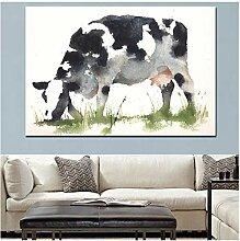 ZXYFBH Poster Bilder Abstrakte Kuh Essen Gras