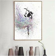 ZXYFBH Poster Bilder Abstrakte tanzende Mädchen