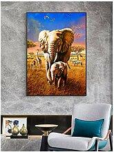 ZXYFBH Poster Bilder Afrikanische Savanne Elefant