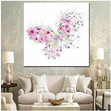 ZXYFBH Poster Bilder Schmetterling Blume Mädchen