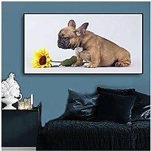 ZXYFBH Poster Bilder Welpe Sonnenblume Hund