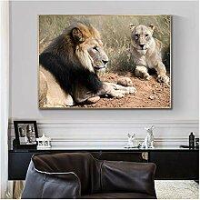 ZXYFBH Poster Bilder Wilder Löwe und Tiger Tier
