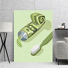 ZXYFBH Poster Bilder Zahnbürste Geld Wandkunst