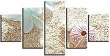 ZXYJJBCL Blumen Und Seesterne Auf Dem Sand