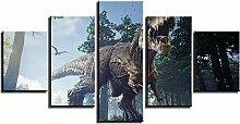 ZXYJJBCL Dinosaurier Im Urwald Wandkunst Bild Für