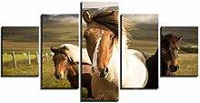 ZXYJJBCL DREI Pferde Auf Der Wiese Wandkunst Bild