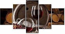 ZXYJJBCL EIN Glas Rotwein Wandkunst Bild Für