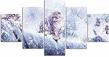 ZXYJJBCL Gepard Im Schnee Wandkunst Bild Für