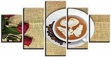 ZXYJJBCL Herzförmige Kaffeerosen Wandkunst Bild
