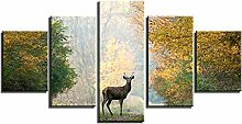 ZXYJJBCL Hirsch Im Herbst Wald Wandkunst Bild Für