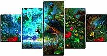 ZXYJJBCL Schöner Pfau Im Wald Wandkunst Bild Für