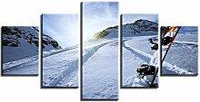 ZXYJJBCL Snowboard Auf Der Skipiste Wandkunst Bild