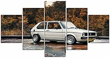 ZXYJJBCL Weißes Auto 5 Stück Wandkunst
