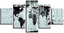 ZXYJJBCL Weltkarte Auf Holzbrett Wandkunst Bild