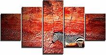 ZXYJJBCL Zebra Vor Roten Felsen Wandkunst Bild