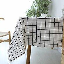 ZXYKleine frische wasserdichte lebende dekorative Tischdecken Baumwolle und Leinen Restaurant Tischdecken rechteckigen Staub und Verschmutzung Prävention waschbar karierten Tischtuch Handtuch,A,120*120cm