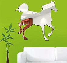 ZXYU DIY Kreative Hausdekoration Kann Entfernt Werden Wandaufkleber Acryl 3D Pferd Acryl Spiegel Aufkleber Können Entfernt Werden,Gold-35*35cm