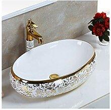 ZXZV Waschbecken im europäischen Stil Vergoldetes