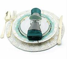ZYJY Heimtextilien grüne glaskeramikkochfeld westlichen gericht set modell zimmer geschirr dekoration runden teller serviette tuch lebensmittel - matte
